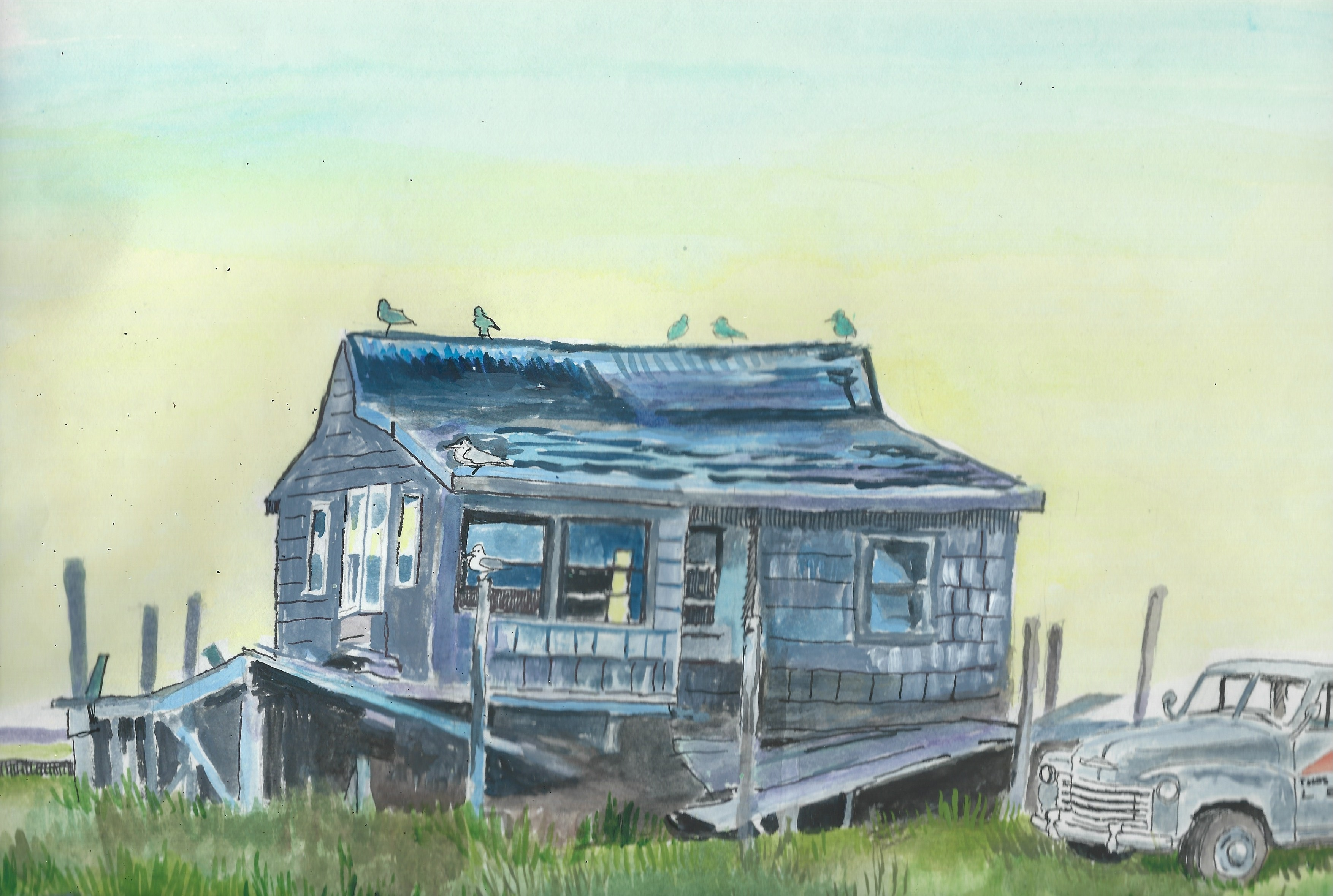 Partial Scan of Artist's Template/Watercolor of 'The Shack'